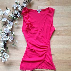 Cache V Neck Pink Sleeveless Blouse